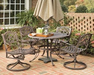 Biscayne 5 Piece 48u2033 Round Outdoor Dining Set Rust Bronze Finish By Home  Styles